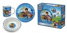 NEW BLUE PAW PATROL 3PC CERAMIC BREAKFAST SET PORCELAIN PLATE MUG BOWL SET