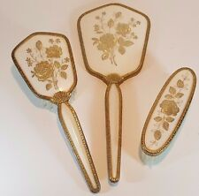 VINTAGE GOLD PETIT POINT EMBROIDERY HAIR CLOTHES BRUSH HAND MIRROR VANITY SET