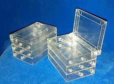 VTG NOS 1950s Lot/50 BOXES CLEAR PLASTIC/METALLIC GLITTER 3-TIER SEWING/JEWELRY