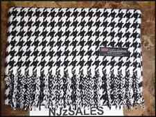 100% CASHMERE Long Scarf BLACK WHITE HOUNDSTOOTH Plaid Warm SCOTLAND Winter Wool