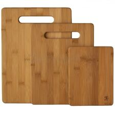 Bamboo Cutting Board Set 3 Piece Cooking Chopping Butcher Cheese Kitchen Knife