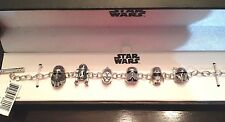 3D Disney Sterling charm link Bracelet Star Wars Beads R2D2 Darth CP3O  Troopers