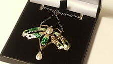 Silver & green enamel vintage Art Deco antique dragonfly pendant necklace