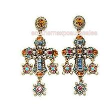"Heidi Daus ""Jeweled Awakening"" Crystal Cross Drop Earrings Disney's Maleficent"