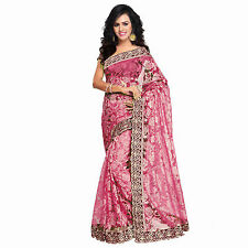 Indian Party Wear Stylish Designer Bollywood Pink Russell Net Saree With Blouse