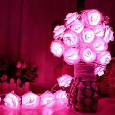 20 LED Rose Flower String Lights Fairy Wedding Garden Party Christmas Decor Xmas