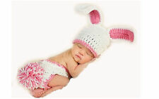 Newborn Baby Infant Bunny Knit Hat Crochet Costume Photo Photography Prop Set