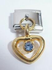 GOLD HEART BLUE GEM Italian Charm - 9mm Classic Size March Gems I Love You N71
