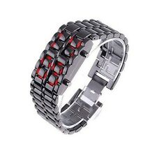 NEW Women's Volcanic Lava Iron Samurai Metal Faceless Bracelet Sport LED WatchS5