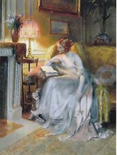 """*Postcard-""""Lady in Long Dress...Reading/Relaxing On Sofa"""""""