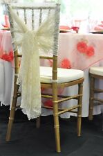 100 IVORY VINTAGE LACE CAP HOOD WEDDING  CHAIR SASHES BOWS