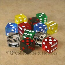NEW 12 Multicolored Transparent Dice Set - 6 Colors RPG Bunco Game 16mm D6