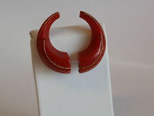 Vintage Red Bakelite Clip on Non Pierced Earrings Bold Curl Gold Wire Arched Old