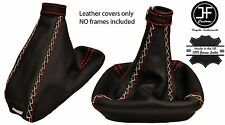 RED STITCH LEATHER GAITER SET FITS ALFA ROMEO 166 98-07 ITALIAN CROSS STITCH