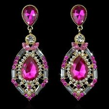 Teardrop Crystal Chandelier Earrings Womens Ocean Pink Big Drop Jewelry