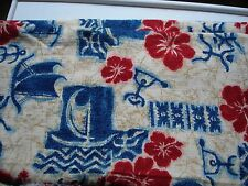 Hawaiian Hibiscus/Nautical CottonBlend Fabric Trans-Pacific Textiles 4 yds x 44""