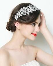 "NEW - Flowers w/ crystals long metal rhinestone hair comb - Wedding - ""Flora"""
