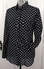 NWT J. CREW COTTON SILK VOILE LONG SLEEVE SHIRT in POLKA DOT BLACK SIZE 8