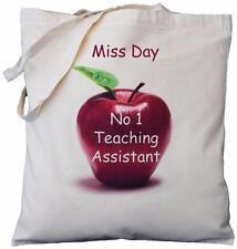 Personalizado-No 1 Teaching Assistant-Apple De Diseño-Bolsa De Algodón De Regalo