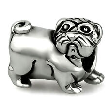 Pug Genuine Sterling Silver Solid Charm OHM Bead AAA017