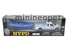 NEW RAY 19885 FORD F-250 PICKUP & INFLATABLE BOAT SET 1/43 NYPD NYC