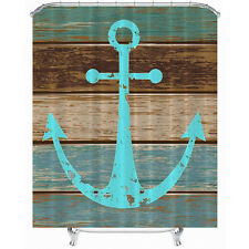 Hot  Polyester Waterproof Nautical Anchor Rustic Wood Shower Curtain