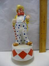 "Porcelain Circus Clown Musical Figurine Rotating Base by Aldon 9"" Tall"