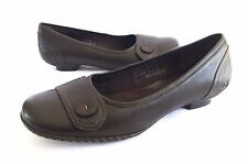 Born Womens 11M 43 Brown Leather Comfort Loafers Low Kitten Heels Shoes EUC