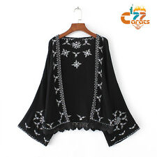 Vintage 70s Black lace Floral Embroidered BOHO blouse Ethnic cardigan TOPS Shirt