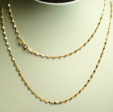 14k solid yellow gold 18 inches long mirror link very sparkly chain