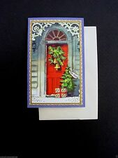 #E995- Vintage Unused Brownie Xmas Greeting Card Pretty Red Front Door & Gift