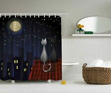 Cats on the Roof Nursery Kids Bathroom Shower Curtain Extra Long 84Inch