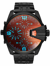 Diesel DZ7373 Men's Uber Chief Black Ion Plated Dial Dual Time Quartz Watch