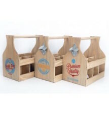 Natural Wood 6 Bottle Holder Crate Box with Opener Vintage Design Wine Beer Soda