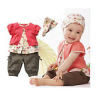 3Pcs Kids Girl Toddler Baby Headband+Top+Pants Shorts Outfit Costume Clothes Red