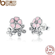 Bamoer Solid Retro S925 Sterling Silver Pink Flower Stud Earrings with Clear CZ