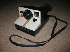 Vintage Polaroid SX-70 One Step White Rainbow Stripe Instant Land Camera NICE