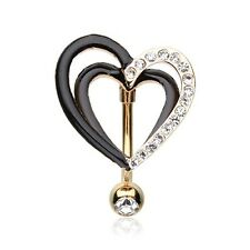 Golden Sparkle Layered Heart Reverse Belly Ring Silver Piercing Sexy Beautiful