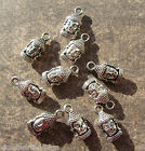 10 or 20 Antique Silver Buddha Head Charms Tibetan Double Sided 16mm Yoga