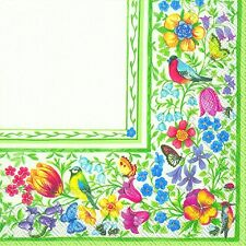 GIARDINO BELLINO flowers birds butterflies luxury paper napkins new 20 pack