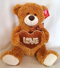 Teddy Bear Plush Valentines Day Gift Love Romance Brown Silver Trim Heart 15""