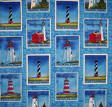 "Daisy Kingdom Lighthouse Postcard Patches Fabric 44"" 3  yards Springs Yarbrough"