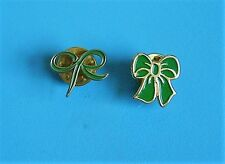 Macmillan 2 green bows stud pin badges charity