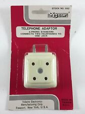 Vintage Telephone Adaptor Connects 2 Phones to 1 Jack-4 Prong Standard-NIB