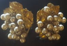 Vtg Signed MIRIAM HASKELL Faux Pearl Cluster Brass Leaves Grape Cluster Earrings