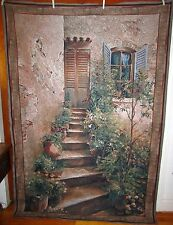 """Stairway in Provence Tapestry Grande Wall Hanging Fabric Piece 76"""" x 56"""""""