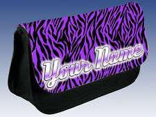 PURPLE ZEBRA PRINT PERSONALISED LADIES / GIRLS MAKE UP BAG/ PENCIL CASE-NAMED