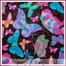 BonEful Fabric Cotton Quilt Brown Pink Leopard Butterfly Africa Flower VTG SCRAP