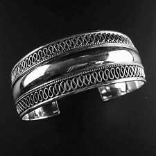 Solid 925 Sterling Silver Bangle/Cuff-102- Metaball Pattern Rounded- Polished