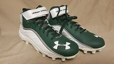 Under Armour Team Fierce Com MC White/Green Football Cleats Size 16 1237075-806
